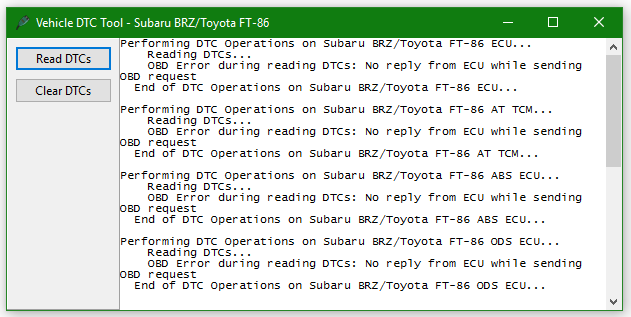 BRZ Programming, Vehicle Tools & Logging Error Messages – Home